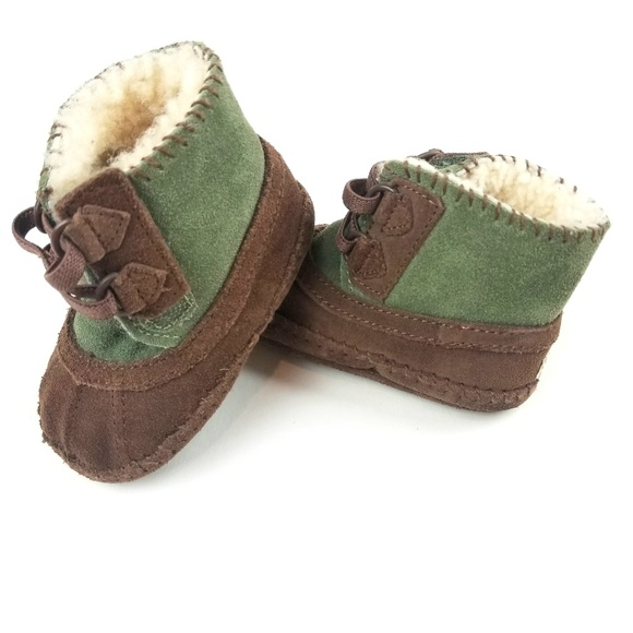 UGG Other - Baby Uggs Green Brown Moccasin Booties Size 2/3